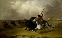 ציור של אינדיאני הורג תאו עם חנית